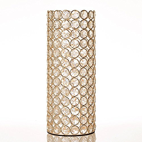 VINCIGANT Gold Crystal Hollow Cylinder Vase for Holiday House Decor Table Centerpieces,Gifts for Mom/Dad,Led Copper Wire String Light Included,Cannot Hold - Decoration Kissing Ball Christmas Holiday