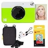 Kodak Printomatic Instant Camera (Green) Basic Bundle + Zink Paper (20 Sheets) + Deluxe Case + Comfortable Neck Strap