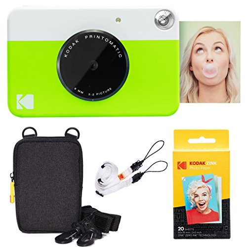 Kodak Printomatic Instant Camera (Green) Basic Bundle + Zink Paper (20 Sheets) + Deluxe Case + Comfortable Neck Strap