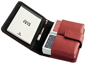 Juego - Estuche de cuero, 2 barajas cartas Póker, lápiz y libreta, calidad - Rojo