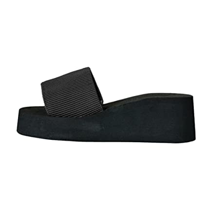 c81fe95ae487 Women Sandals Women s Slide Bohemia Anti-Slip Sandals Thick Bottom Slippers  Wedge Platform Slippers (