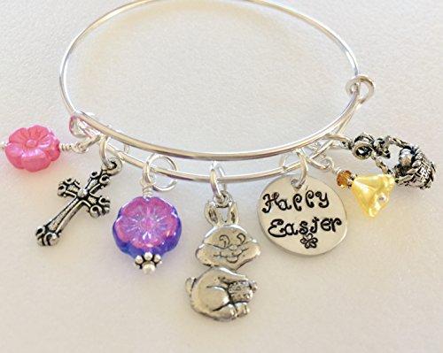 Easter Bangle, Easter Charm Bracelet, Pewter Charms, Bunny Bangle, Easter Basket, Christian Cross,