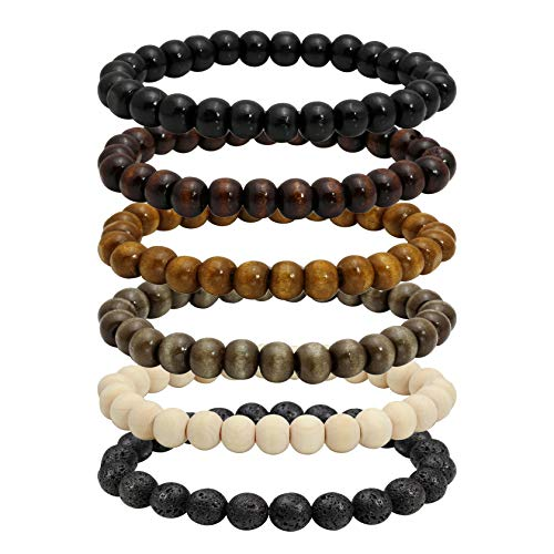 MILAKOO 6 Pcs 8mm Natural Wood Beads Bracelet for Men Women Lava Rock Bracelet for Oil Diffuser ()