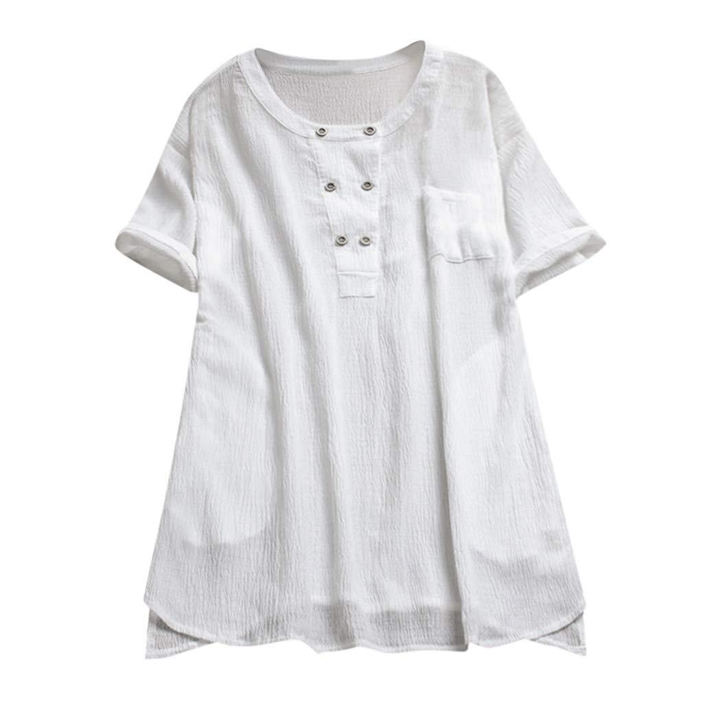 CAOQAO Sweatshirt Damen-Weinlese-Kurzschluss-HüLsen-Baumwollleinen-Knopf-BeiläUfige Lose T-Shirt Bluse