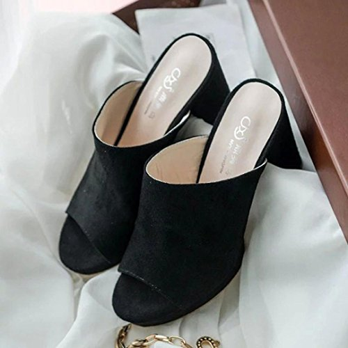 Inkach Womens Heeled Sandals - Fashion Ladies Flip-Flop High Heels Slipper Fish Mouth Shoes Black JhqEe7e9To