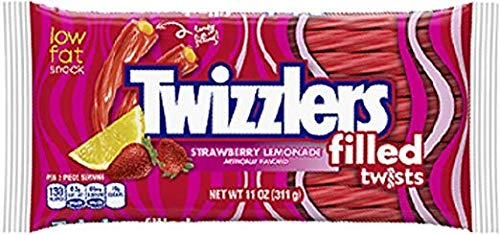 Hershey Twizzlers Strawberry Candy - Hershey's Twizzlers, Strawberry Lemonade Filled Twists, 11 Ounce Bag (Pack of 12)