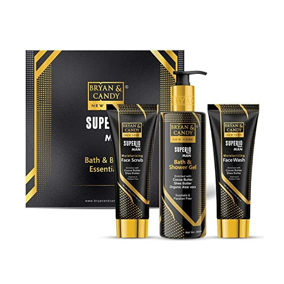 Bryan & Candy New York Superio Man Moisturizing Kit for Men | Face Scrub-100ml, Face Wash-100ml, Bath & Shower Gel-300ml
