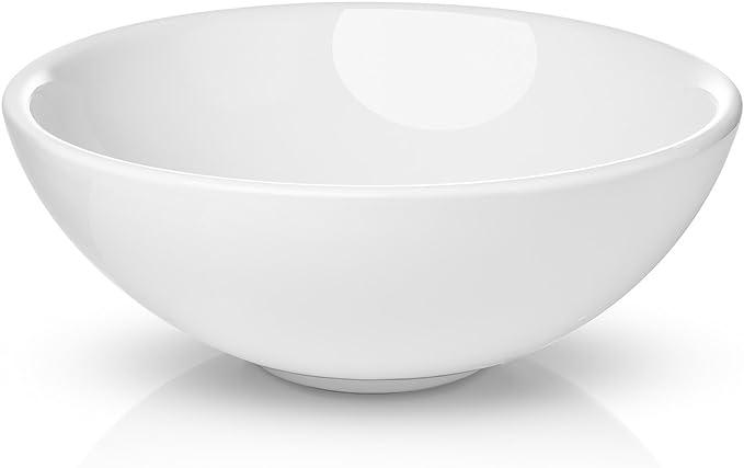 Miligore 16 Round White Ceramic Vessel Sink Modern Above Counter Bathroom Vanity Bowl Home Kitchen