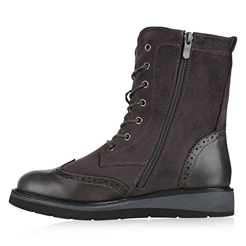 Stiefelparadies Damen Plateau Sneaker High Warm Gefütterte Sneakers Wildleder-Optik Winter Schuhe Plateauschuhe Schnürer Flandell Grau Grey