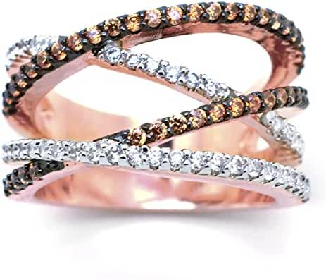 Sparkly Bride Crisscross Chocolate CZ Rose Gold Plated Crossover Wide Band Women Fashion Statement Ring