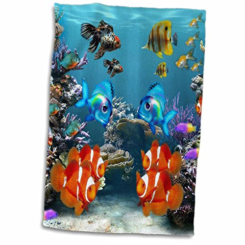 3D Rose Graphic Design of Aquarium Style Hand Towel 15quot x 22quot