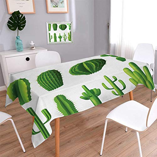 Cactus Rectangle Dinning Tabletop Decor Print Cartoon Style