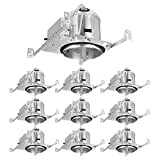 TORCHSTAR 6 Inch Recessed Housing for New Construction, IC Rated, Air Tight Ceiling Downlight Can with Junction Box, E26 Screw Base, UL Listed, Aluminum, 2 Years Warranty, Pack of 10