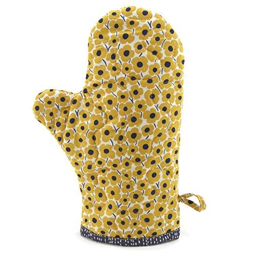 Flower Mitt (Floral Oven Mitt - Yellow, Blue and Ivory Flower Pot Holder)