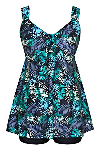 DANIFY Women's Plus Size Swimwear Two Piece Swimsuit Pin up Tummy Control Tankini Swimdress