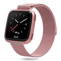 for Fitbit Versa Bands for Women and Men, Penta Stars Milanese Loop Stainless Steel Metal Mesh Band Fits Small & Large Wrists with Magnetic Clasp