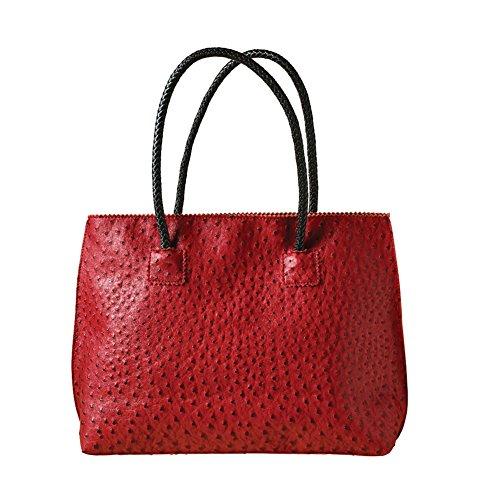 - Women's Vegan Handbag - Ostrich Look Embossed Tote with Zip Close - Ruby