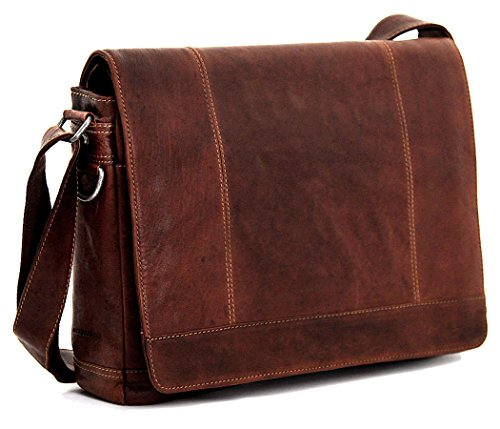 Jack George Voyager Full Size Messenger Bag Brown by Jack Georges
