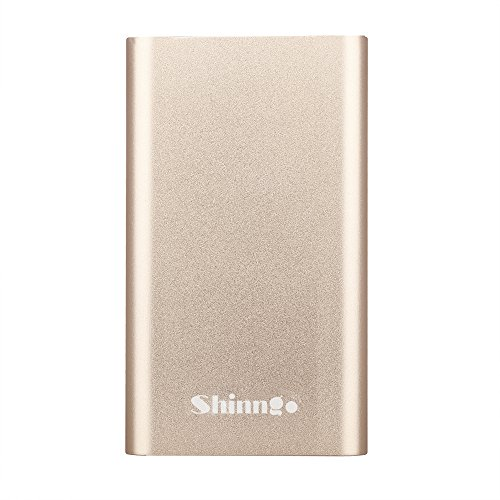 Shinngo Portable Charger 4000mAh Ultra Slim Power Bank Aviation Aluminum Surface External Battery Pack with 2.1A&1A Output and 2A Input for iPhone Samsung Galaxy and More (Gold)