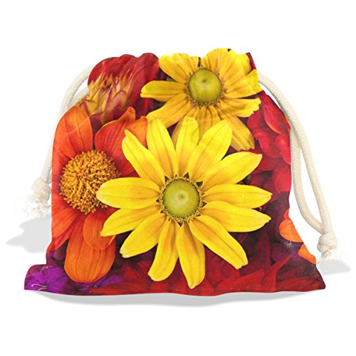 Dragon Sword Gerbera Autumn Flower Colorful Floral Gift Bags Jewelry Drawstring Pouches for Wedding Party, 5.5x5.5 Inch Gerbera Favors