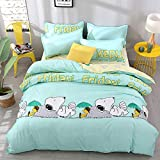 Papa&Mima Snoopy Green Simple Brief Polyester Microfiber Duvet Cover Set Bedsheet Pillowcases Bedding Set 4pc Queen Size 86'x94'(220x240cm)