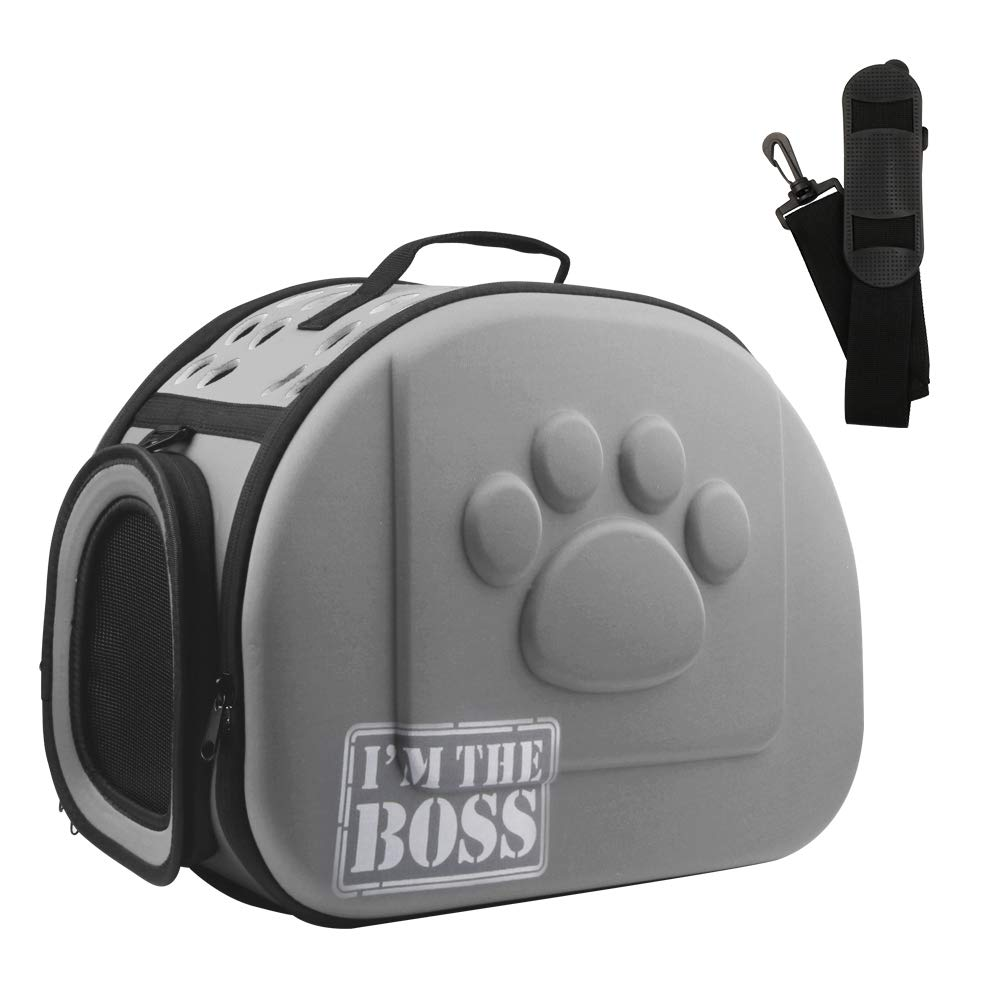 AriTan Airline Approved Soft-Sided Collapsible Portable EVA Pet Travel Carrier with Mesh Windows, Porous Design, Best for Small or Medium Cat (Large, Grey) by AriTan