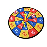 Dengguoli 14 Inch Safety Cloth Fabric Dart Board Target Set Ball Game Throwing Sport Hobby Kids Toy (2 Darts 2 Balls)