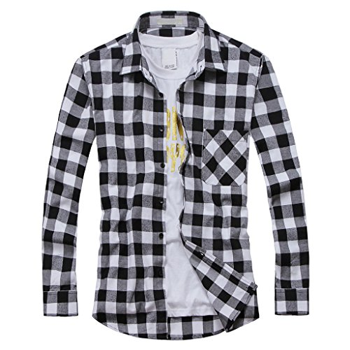 OCHENTA Men's Button Down Long Sleeve Plaid Flannel Shirt N055 White Black Asian XL - US ()