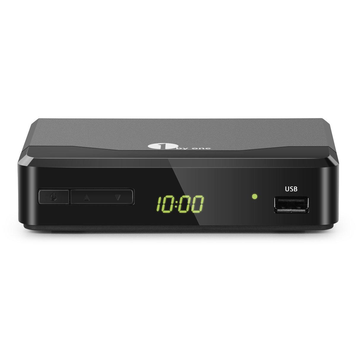 1byone ATSC Digital Converter Box for Analog TV, Analog TV Converter Box with Record and Pause Live TV, USB Multimedia Playback, HDTV Set Top Box for 1080p(New Version)-Black