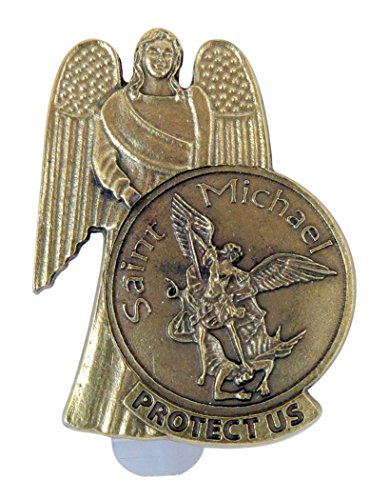 (Religious Gifts Bronze Tone Guardian Angel with Saint Michael Protect Us Visor Clip, 2 Inch)
