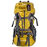WASING 55L Internal Frame Backpack Hiking Backpacking Packs for Outdoor Hiking Travel Climbing Camping Mountaineering with Rain Cover WS-55Lpack-yellow