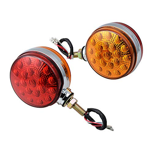 """2pc 4"""" Round Double Face Single Stud Mount Red/Amber 42-LED Fender Reflective Stop Turn Signal Lights w/Chrome ABS Housing Sealed Compatible with Kenworth Peterbilt Freightliner Western Star Volvo"""
