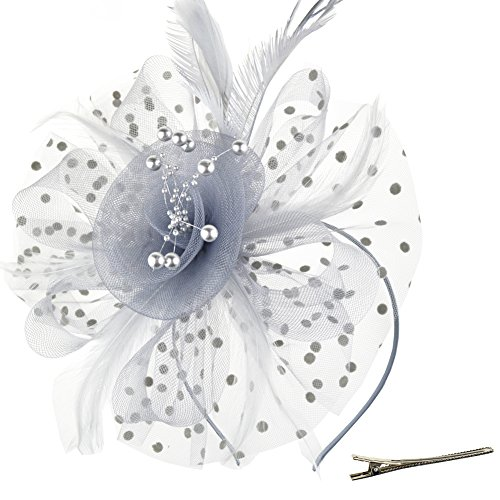 DRESHOW Fascinators Hat Flower Mesh Ribbons Feathers on a Headband and a Clip Tea Party Headwear for Girls and Women Bridal Party Personal Package