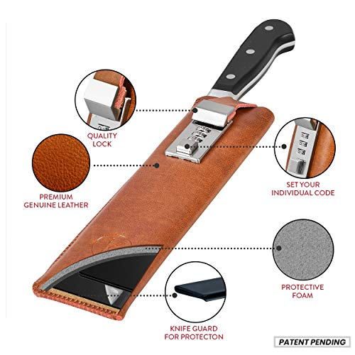 Chef Knife Case with Combination Lock - Premium Quality Top Grain Leather Holder with Inner Plastic Blade Guard - Fits 6-8
