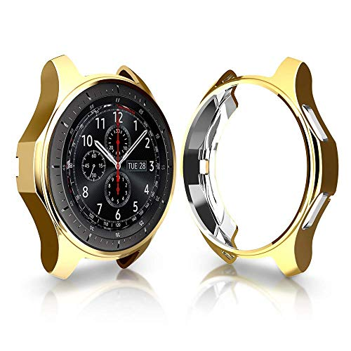 iHYQ Case for Samsung Gear S3 Frontier SM-R760,TPU Scractch-Resist Shock-Proof All-Around Protective Bumper Shell Protective Band Galaxy Watch SM-R800 46mm Smartwatch Gold