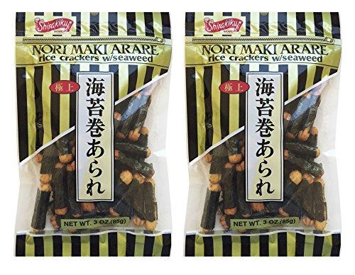 (Japanese Shirakiku Nori Maki Arare Rice Crackers With Seaweed Snack 3oz (Pack of 2))