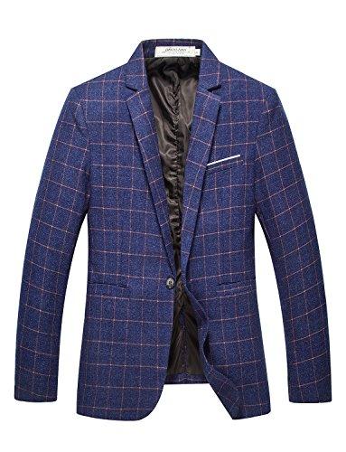 DAVID.ANN Men's Slim Fit One Button Lightweight Casual Blazer Jacket,Blue,Large