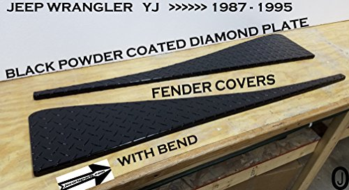 JEEP YJ Black Powder Coated Diamond Plate Full Top Fender Covers With Bend
