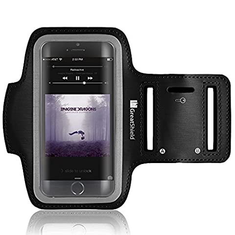 iPhone SE Armband, GreatShield Neoprene Stretchable Arm Case Holder for Sports Gym Workouts with Key Slots for Apple iPhone SE / 5S / 5 / iPod Touch 5th Generation (Ipod 5th Generation With Holster)