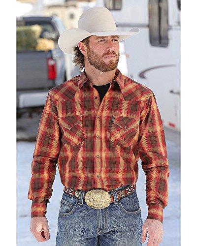 Cinch Men's Orange Plaid Western Shirt Multi Medium