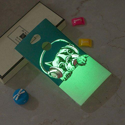Funda Sony Xperia L2,Carcasas Sony Xperia L2 Silicona TPU Noctilucentes LED Silicona Flexible Ultra Delgado Ligero Goma Case Cover Caja Suave Gel Shock Absorción Anti Rasguños Anti Choque Bumper Prote Perro de moda