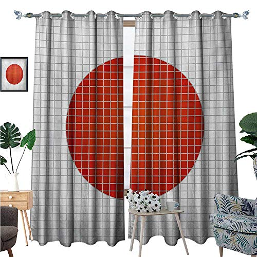 Abstract Room Darkening Wide Curtains Mosaic National Flag of Japan Grunge Fractal Background Modern Graphic Print Customized Curtains W84 x L108 Pale Grey Orange (National Japan Stainless)