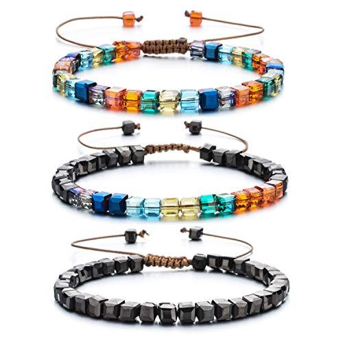 Women Bracelet Crystal Glass Bead Adjustable Bangles Handmade String Bohemia Jewelry with Gift Box(3pcs)