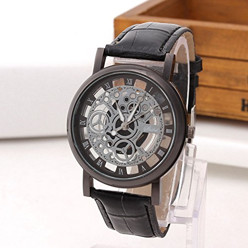 Amazon.com: Fashion Business Skeleton Watch Men Engraving Hollow Reloj Hombre Dress Quartz Wristwatch Leather Band Women Clock Relojes Mujer: Home Audio & ...