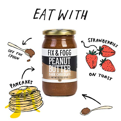 Gourmet Dark Chocolate Peanut Butter from Fix & Fogg with 60% Dark Chocolate. Keto Friendly. Project Non-GMO certified. Superior Tasting Chunky Chocolate Spread. Low in Sugar (13.2 oz) 6