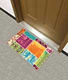 Kapaqua Rubber Backed Mat 18' x 31' Multicolor Fancy Patchwork Doormat Accent Non-Slip Rug - Rana Collection Kitchen Dining Living Hallway Bathroom Pet Entry Rugs RAN2079-12