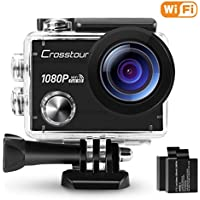 Crosstour Action Camera 1080P Full HD Wi-Fi 12MP Waterproof Cam 2 LCD 30m Underwater 170°Wide-angle Sports Camera with 2 Rechargeable 1050mAh Batteries and Mounting Accessory Kits