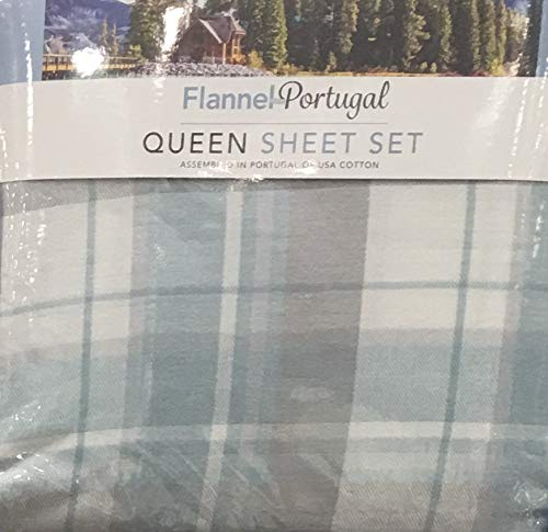 Luxury Portugal Flannel 4-Piece Queen Sheet Set Made of 100% USA Cotton, (Plaid) ()