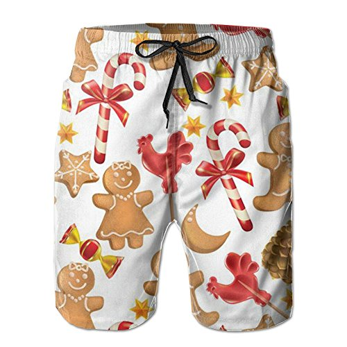 Ginger Rash Guard - Gingerbread Christmas Mens Cool Quick Drying And Breathable Boardshorts Loose Fit Elastic Athletic Shorts With Pockets For Surf Running Swimming Watershort