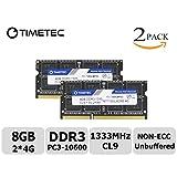 Timetec Hynix IC 8GB KIT (2x4GB) DDR3 1333MHz PC3-10600 Non ECC Unbuffered 1.5V CL9 2Rx8 Dual Rank 204 Pin Sodimm Laptop Notebook Computer Memory Ram Module Upgrade (Low Density 8GB (2x4GB))
